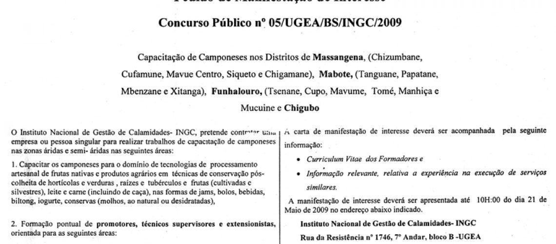 05/UGEA/BS/INGC/2009