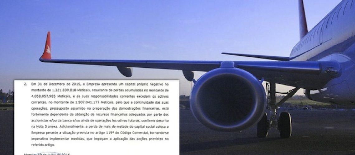 Linhas Aéreas de Moçambique em falência técnica e com dívidas de biliões de meticais à banca