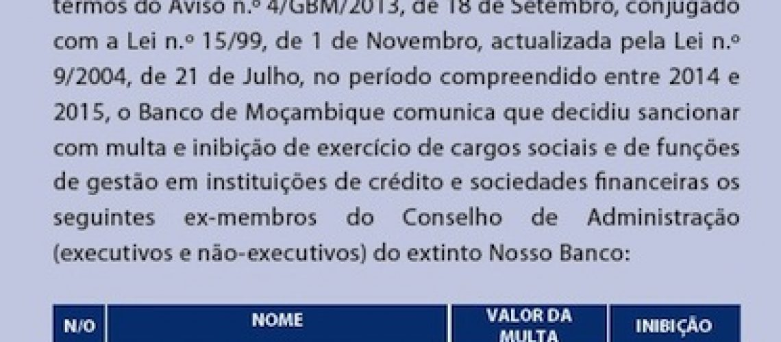 Banco de Moçambique sanciona Adelino Buque