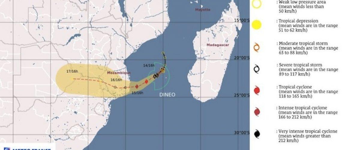 Ciclone Dineo nesta 4ªfeira nas regiões costeiras de Inhambane e Gaza
