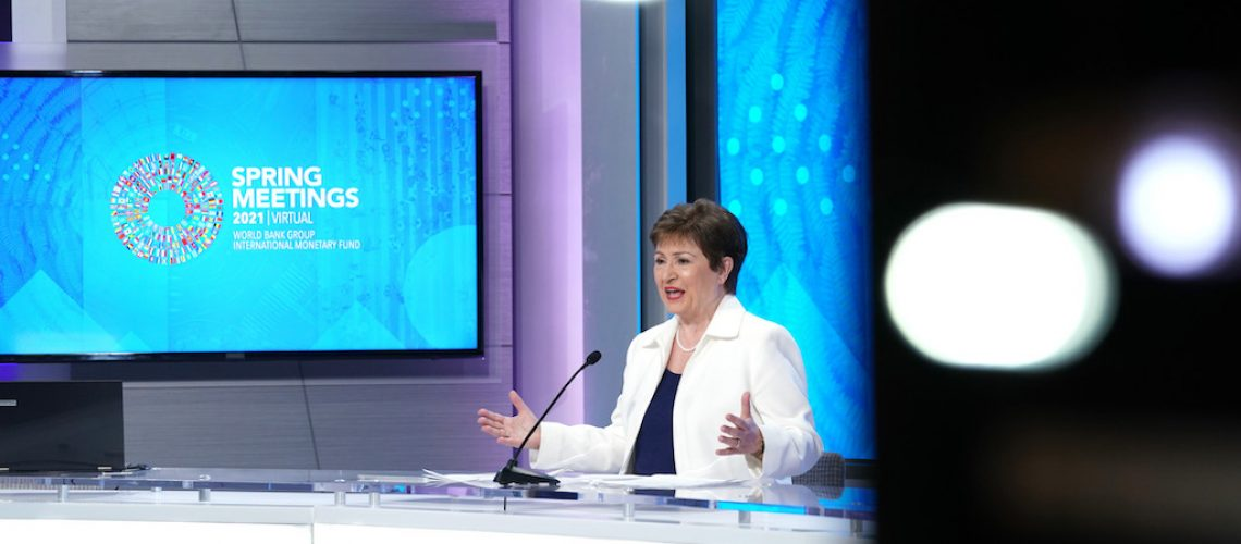 Managing Director Kristalina Georgieva participates in an interview with Tom Keene of Bloomberg during the 2021 Spring Meetings at the International Monetary Fund. IMF Photo/Cliff Owen 7 April 2021 Washington, DC, United States Photo ref: CO101872.JPG