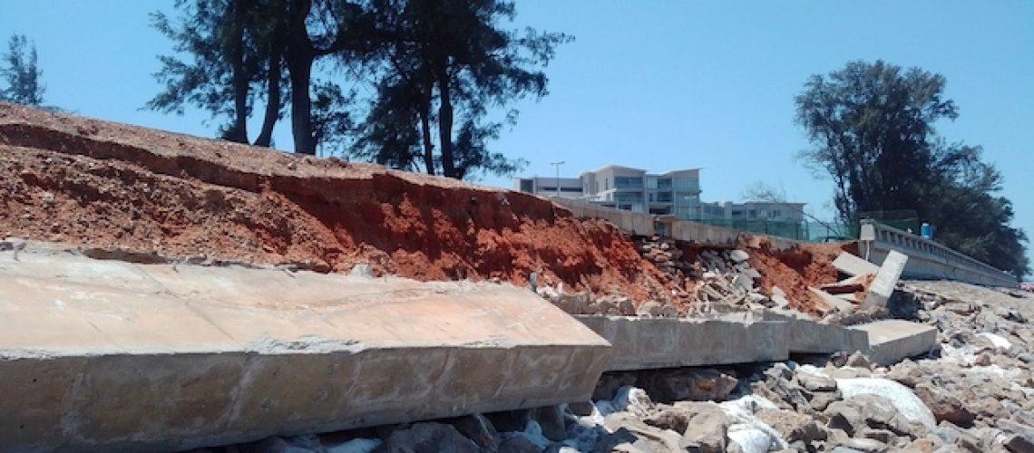 Barreira de protecção da costa da Cidade de Maputo edificada há 5 anos está a ruir